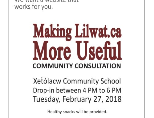 Making Lilwat.ca More Useful consultation in-person and online